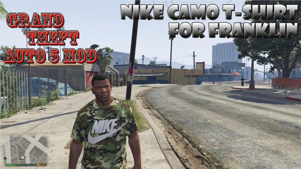 Nike Camo T-shirt On Franklin Mod For GTA 5