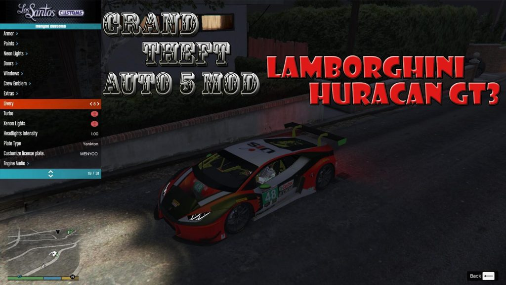 Lamborghini Huracan GT3 Mod For GTA5