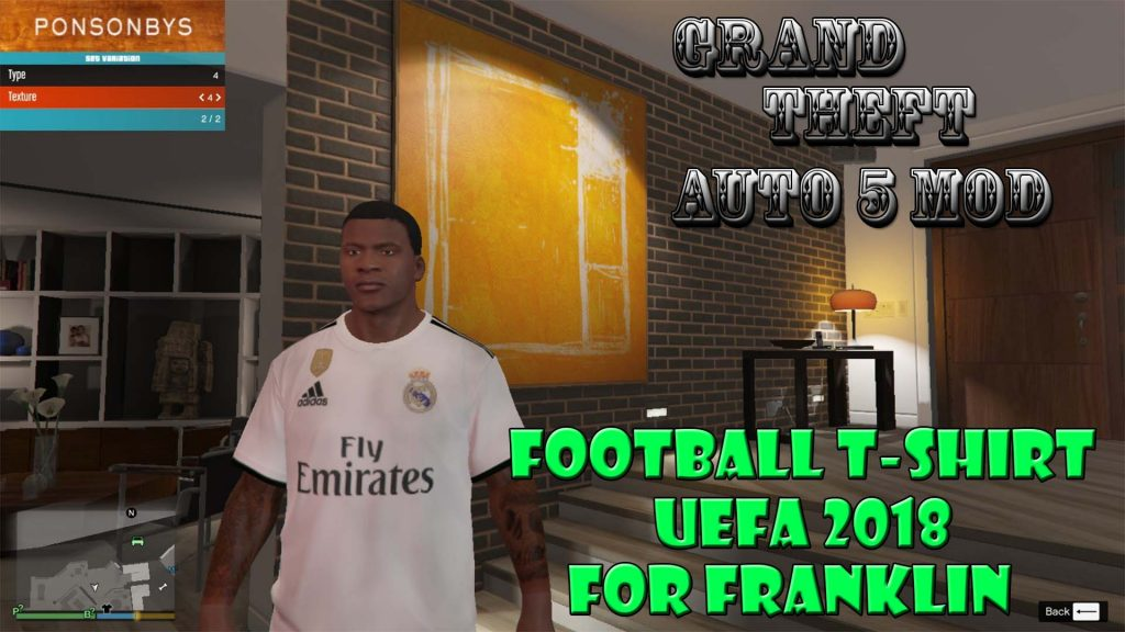 Football T-Shirt UEFA 2018 For Franklin Mod For GTA5