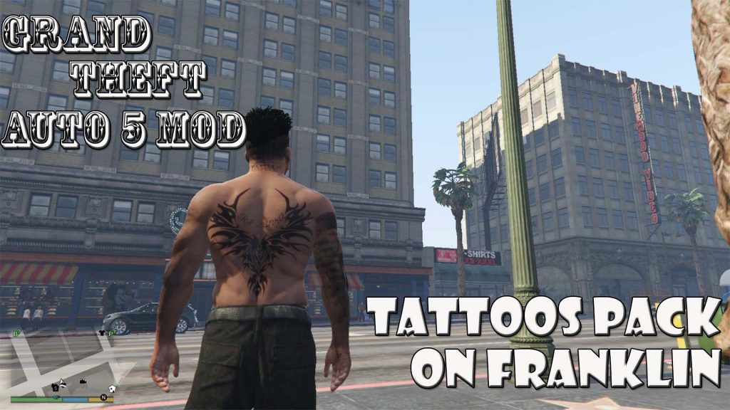 Tattoos Pack On Franklin Body Mod For GTA5