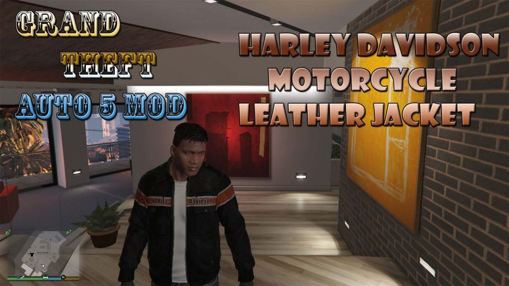 Harley Davidson Motorcycle Leather Jacket For Franklin Mod For GTA5