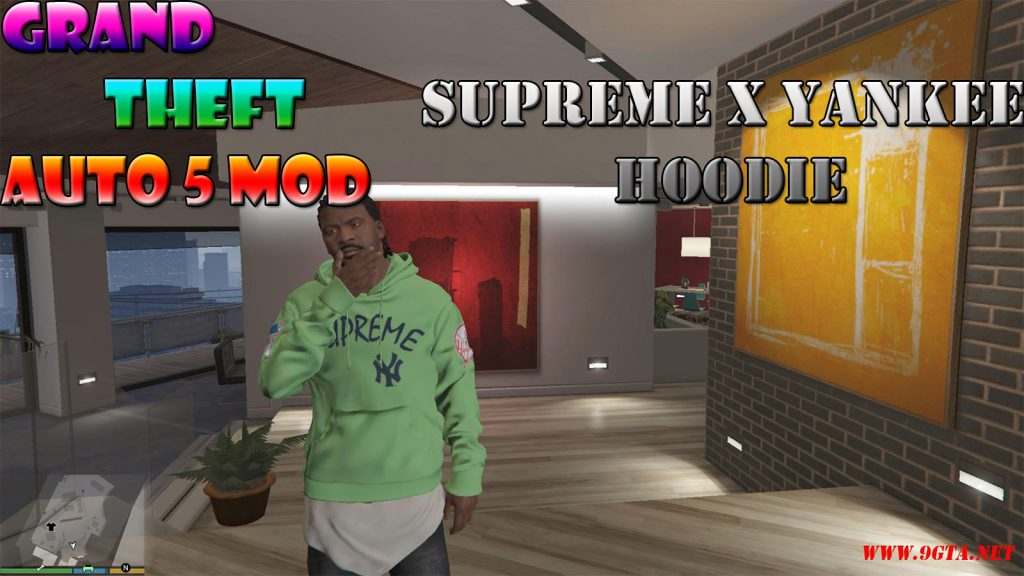 Supreme X Yankee Hoodie For Franklin Mod For GTA5