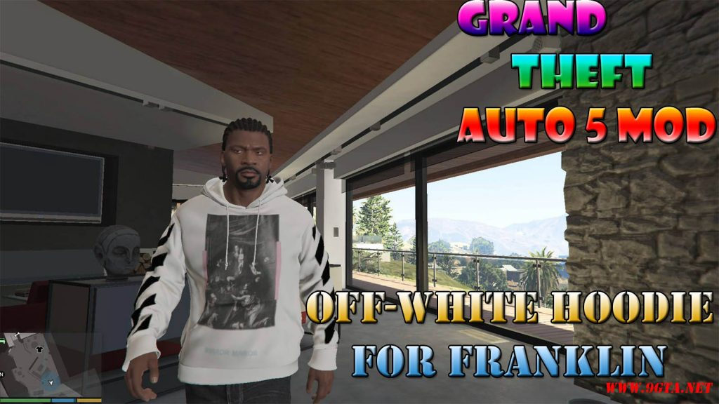 Off-White Diagonal Caravaggio Hoodie For Franklin Mod For GTA5