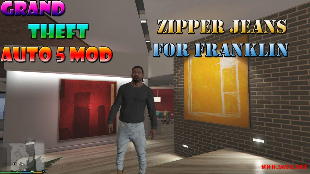 Zipper Jeans Baggy For Franklin Mod For GTA5