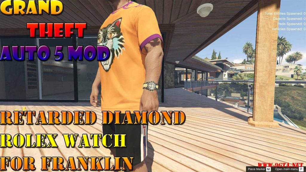 Retarded Diamonds Rolex Watch For Franklin Mod For GTA5