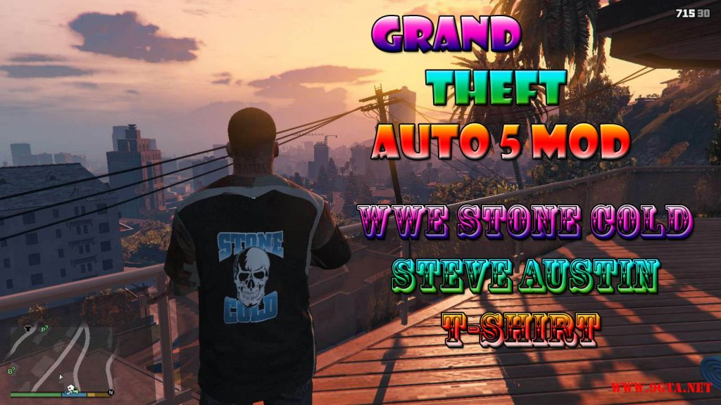 WWE Stone Cold Steve Austin T-Shirt For Franklin Mod For GTA5